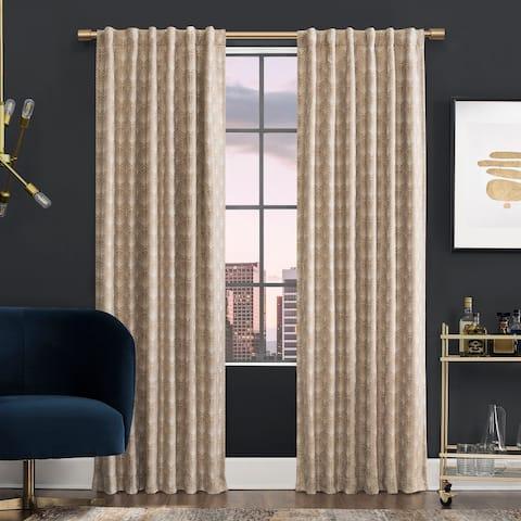 Scott Living Montauk Art Deco Total Blackout Back Tab Curtain Panel, Single Panel