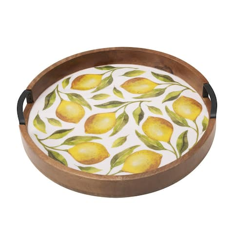 "Gourmet Basics by Mikasa Lemons 16"" Wood Lazy Susan"