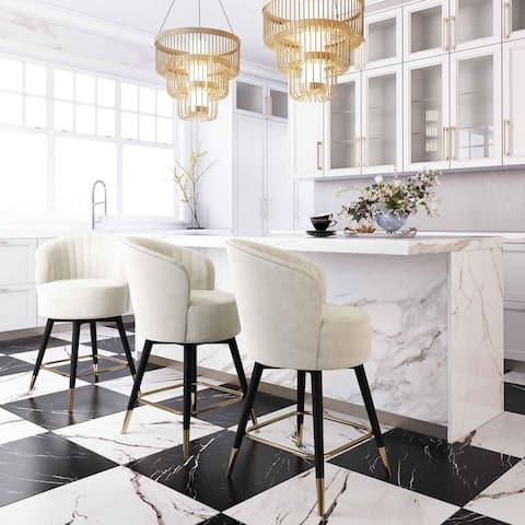 Liana Cream Velvet Swivel Stool by Inspire Me! Home Decor