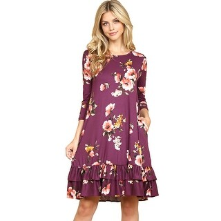 Riah Fashion's Ruffled Floral Pocket Dress