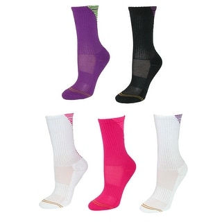 Gold Toe Girl's Striped Back Crew Socks (5 Pair Pack) - Pink Multi