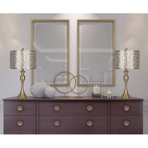 Curvy Metal Table Lamp with Cut-out Shades (Set of 2)