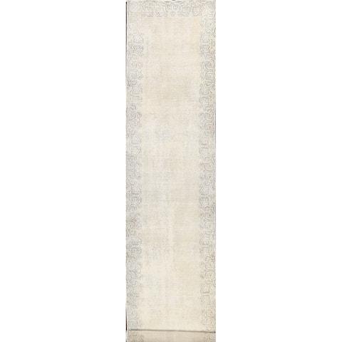 "Muted Distressed Tabriz Persian Hallway Runner Rug Wool Handmade - 2'9"" x 12'7"""