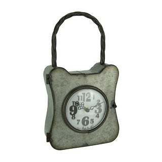 Galvanized Rust Finish Metal Lock Table or Wall Clock - 12.75 X 7 X 3 inches