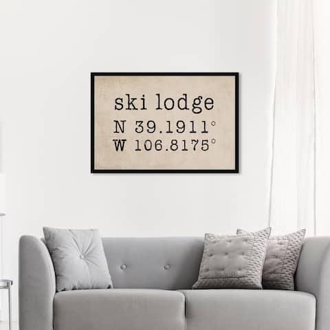 Oliver Gal 'Ski Lodge' Sports and Teams Wall Art Framed Print Skiing - Black, Brown
