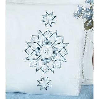 Stamped Pillowcases W/White Lace Edge 2/Pkg-Xx Star