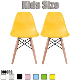 2xhome-set of 2 Yellow Plastic Wood Chairs Natural Wood Kids Children