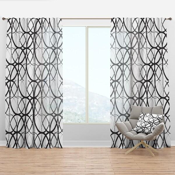 Designart 'Monochrome Geometric Pattern' Mid-Century Modern Curtain Panel. Opens flyout.