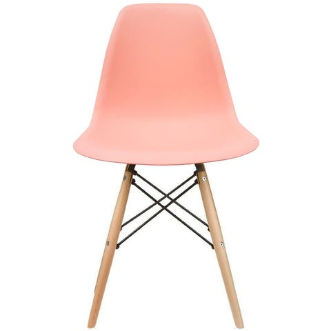 Designer Plastic Eiffel Chair Natural Wood Legs Retro Dining Armless With Back Desk Accent Living Room Side Dowel DSW