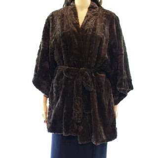 Natori NEW Brown Faux-Fur Women's Size Small S Robes Belted Sleepwear