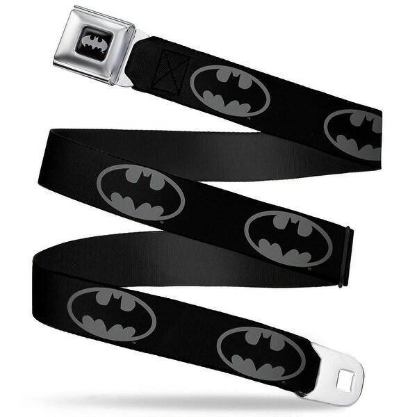 Batman Black Silver Batman Shield Black Gray Webbing Seatbelt Belt Fashion Seatbelt Belt