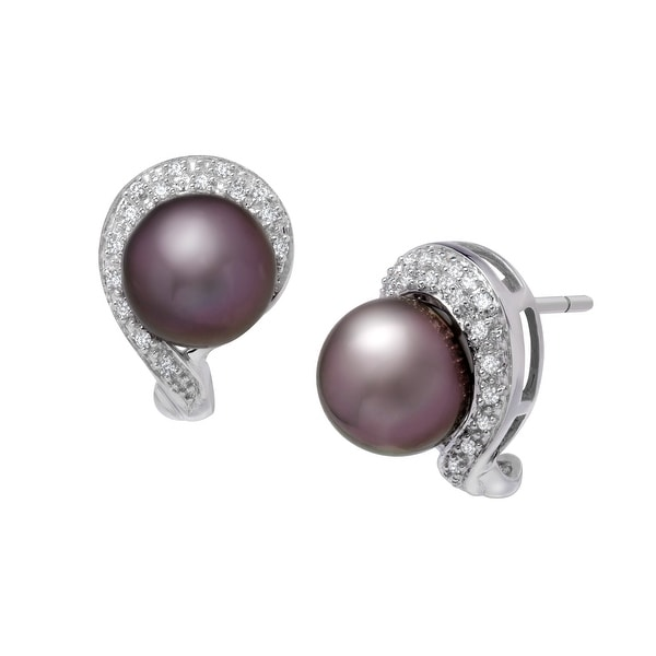 9mm Tahitian Freshwater Pearl and 1/6 ct Diamond Earrings in 14K White Gold - Grey