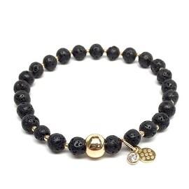 Black Lava 'Lily' Stretch Bracelet, 14k over Sterling Silver