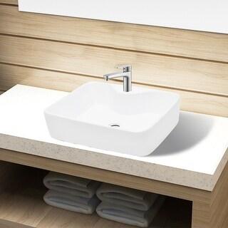 vidaXL Bathroom Sink Basin with Faucet Hole Ceramic White