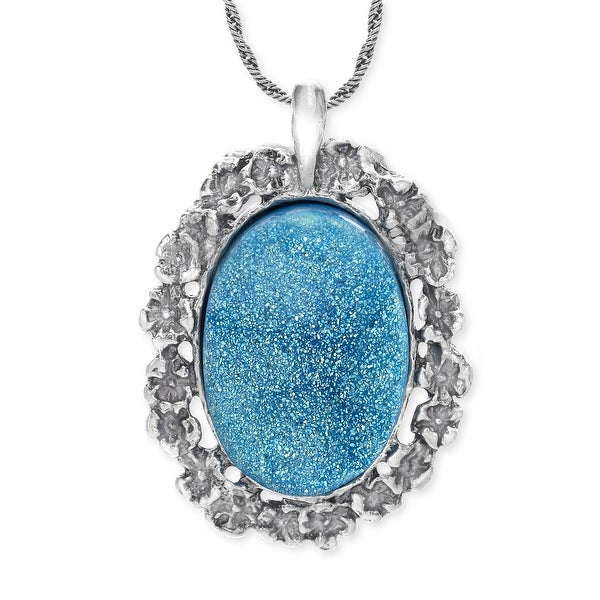 Blue Druzy Pendant in Sterling Silver