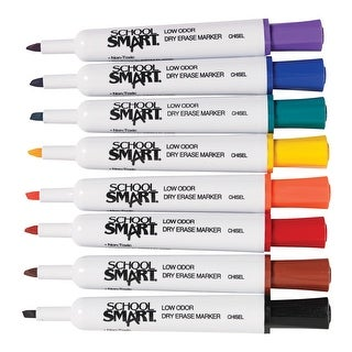 School Smart Low Odor Non-Toxic Dry Erase Marker, Chisel Tip, Assorted Colors, Pack of 8