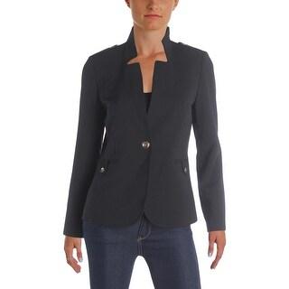 Tahari ASL Womens Petites One-Button Blazer Tab Detail Long Sleeves