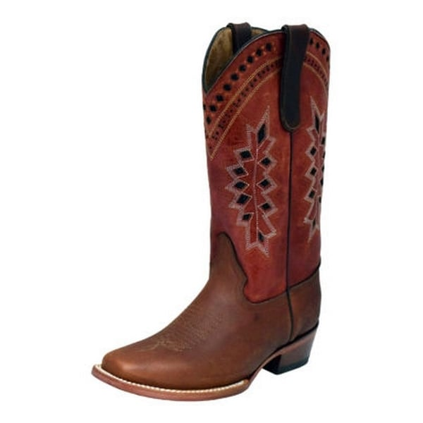 Ferrini Western Boots Womens Apache Embroidery Tabs Brandy