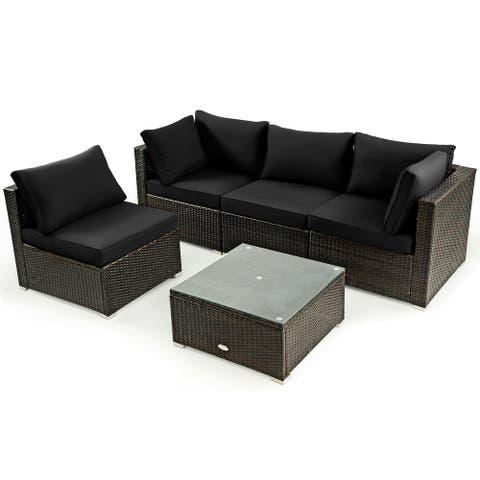 Gymax 5PCS Rattan Patio Conversation Set Sofa Furniture Set w/ Black - See Details