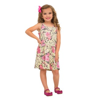 Pulla Bulla Little Girl Pleated Sleeveless Floral Dress (2 options available)