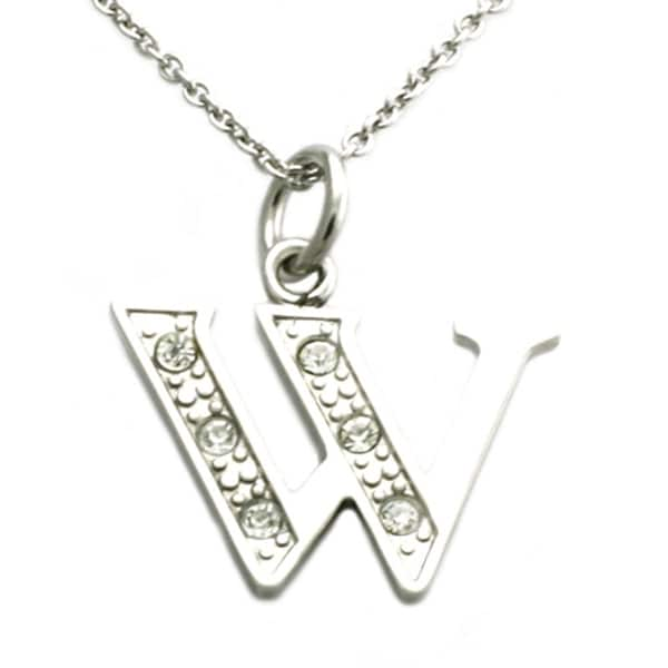 Stainless Steel Alphabet Initial Pendant w/ CZ Stones - Letter W - 18 inches