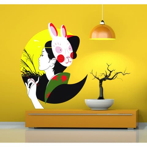 Japanese Girl Wearing Bunny Mask Wall Decal, Asian Decor