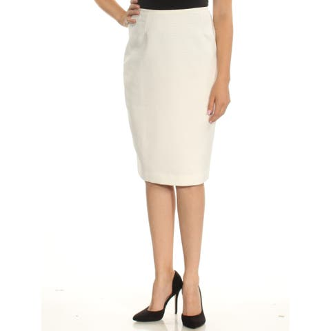 LE SUIT Womens White Below The Knee Pencil Wear To Work Skirt Size: 10