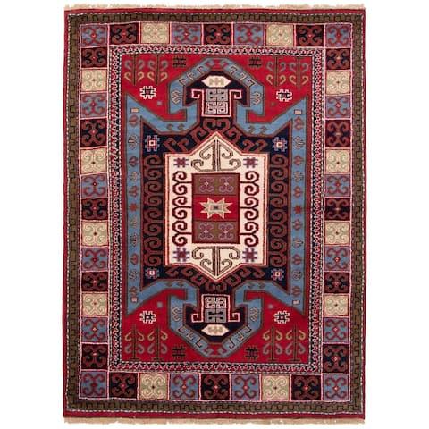 ECARPETGALLERY Hand-knotted Royal Kazak Red Wool Rug - 5'10 x 7'10