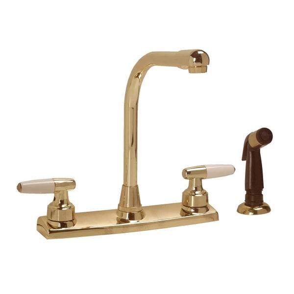 Widespread Kitchen Faucet Brass High Neck 2 Handles Sprayer