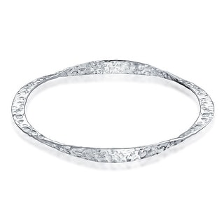 Bling Jewelry Sterling Silver Hammered Bangle Bracelet 8 Inch