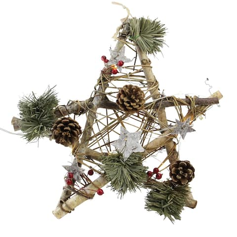 "12"" Brown and Green Christmas Star Rustic Twigs Ornament"