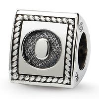 Sterling Silver Reflections Letter O Triangle Block Bead (4mm Diameter Hole)