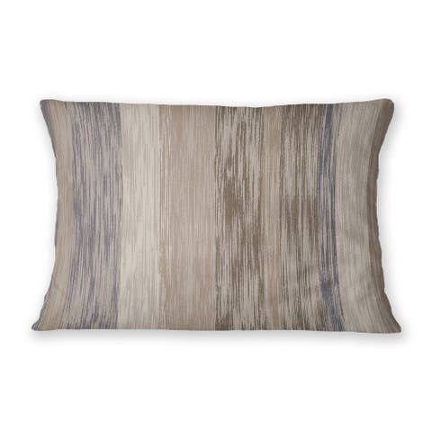 STRIPEY TEX BROWN Indoor Outdoor Lumbar Pillow By Kavka Designs