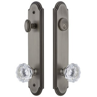 Grandeur ARCFON_TP_ESET_234  Arc Solid Brass Tall Plate Single Cylinder Keyed Entry Set with Fontainebleau Crystal Knob and