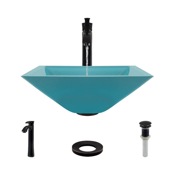 """Rene R5-5003-CER-R9-7006 16-1/2"""" Glass Vessel Bathroom Sink with Vessel Faucet, Sink Ring, and Vessel Pop-Up Drain"""