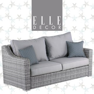 """Link to Elle Decor Vallauris Outdoor 73"""" Sofa - Gray Wicker Similar Items in Outdoor Sofas, Chairs & Sectionals"""