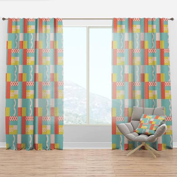 Designart Retro Abstract Design Iii Mid Century Modern Curtain Panel Overstock 29625889