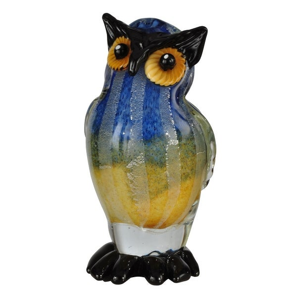 "12"" Midnight Blue and Mikado Yellow Big Owl Decorative Hand Blown Glass Figurine - N/A"