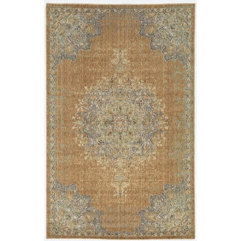 Gracewood Hollow Wool Vintage Medallian Oriental Area Rug