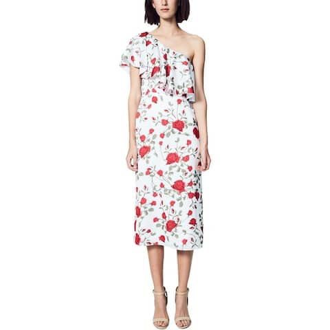 Fame And Partners Womens Aubrieta Party Dress One Shoulder Floral Print