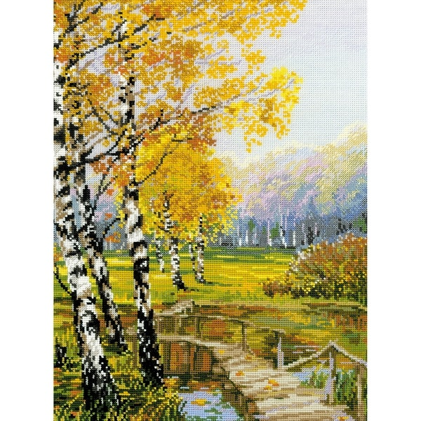 "The Birches Counted Cross Stitch Kit-10.25""X15"" 14 Count"