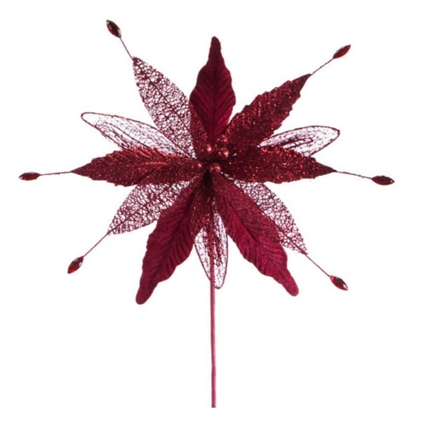 Club Pack of 12 Artificial Burgundy Red Christmas Poinsettia Picks with Gems 12""
