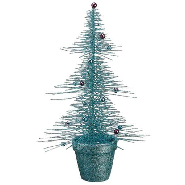 """16"""" Whimsical Turquoise Glittered Spike Table Tree - BLue"""