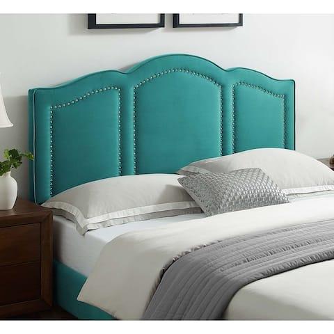 Augusta Green Velvet Upholstered Full/Queen Size Headboard with Nailhead Trim