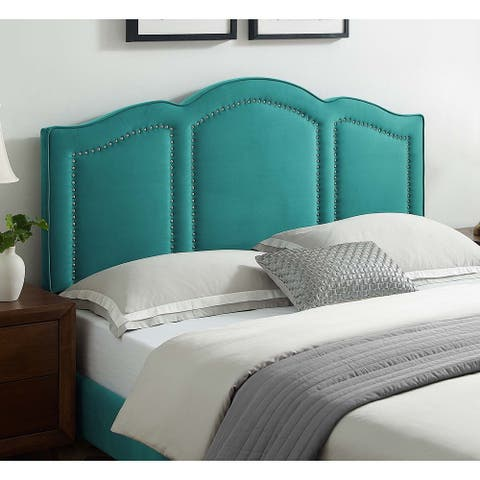 Augusta Green Velvet Upholstered Twin Size Headboard with Nailhead Trim