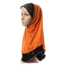 Muslim Scarf Kerchief Hat Macrame Zircon Thin orange yellow