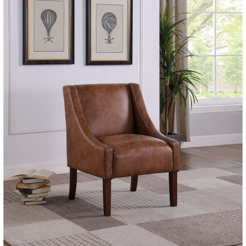 HomePop Modern Swoop Arm Accent Chair - Distressed Brown Faux Leather