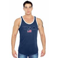 Men's USA Flag Tank Top Stars & Stripes American Pride Old Glory Red WHITE Blue