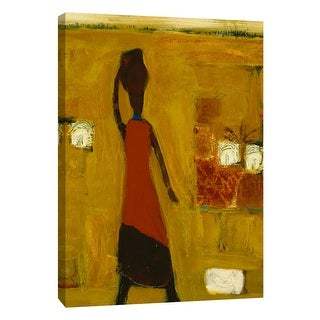 """PTM Images 9-105173  PTM Canvas Collection 10"""" x 8"""" - """"Walking Woman With Water Pot"""" Giclee Women Art Print on Canvas"""