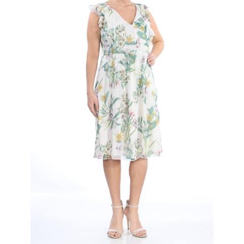 MAXMARA White Cap Sleeve Knee Length Dress 10